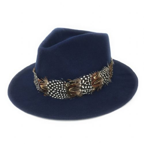Womens Showerproof Wool Navy Fedora Hat with Country Feather Wrap Trim - Chadlington